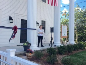 Anne Connolly speaks at the Open House.